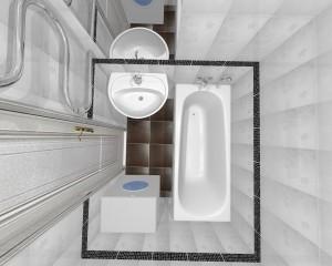 Дизайн-проект ванной, вид сверху