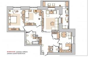 Дизайн-проект 3-комнатной квартиры. Российская, 21