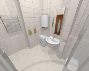 применение однотонного кафеля помогает расширить пространство маленькой ванной комнаты