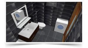 Дизайн ванной с черным кафелем
