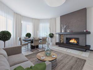 Дизайн гостиной. Настоящий дровяной камин для теплых вечеров в кругу семьи!