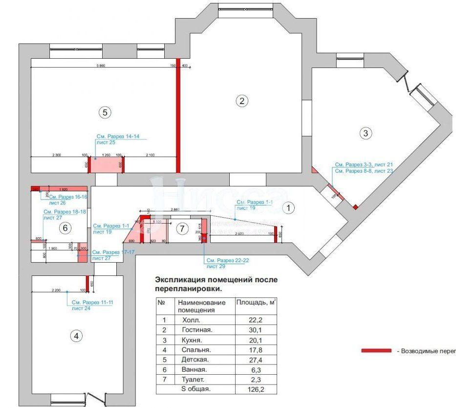 Разработка дизайн-проекта трехкомнатной квартиры. План перепланировки.