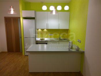 Все помещение выполнено в спокойном тоне, а кухонная зона в интенсивном.