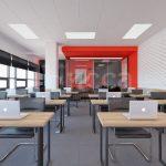 Был использован подвесной потолок Ecophon. Это акустический потолок, под которым можно прокладывать и менять коммуникации.